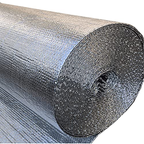 CPSH Lámina de aislamiento de lámina de aluminio con membrana térmica, lámina de aluminio, barrera de vapor, adecuada para su uso en paredes, pisos y techos (tamaño: 1 x 6 m)