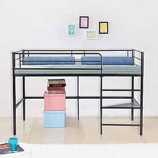 GreenForest Loft Bed Twin Size Metal Bed Frame for Kids Boys Girls Low Safe Bunk Bed with Shelf and Ladder Black