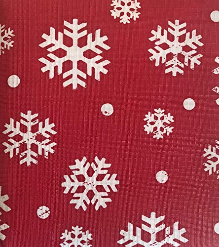 Lintex Red Winter Festival Snowflakes PEVA Non Toxic Christmas Tablecloth - Flannel Backed Non PVC Vinyl Holiday Tablecloth, Odorless and Environmentally Friendly, 60 Inch x 84 Inch Oblong/Rectangle