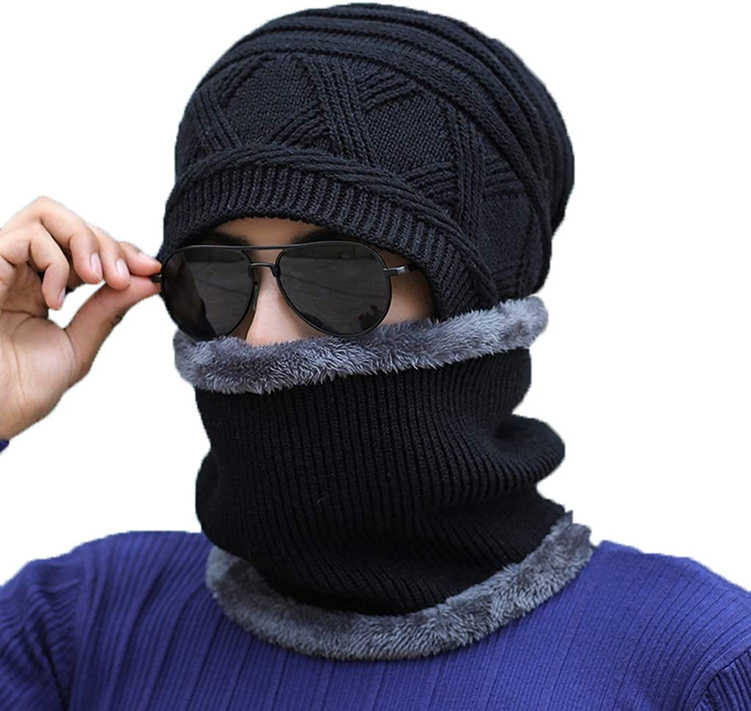 Hat, Men Autumn and Winter Knitted Cycling Warm Scarf Wool Cap Set Set of 2 (color   B)