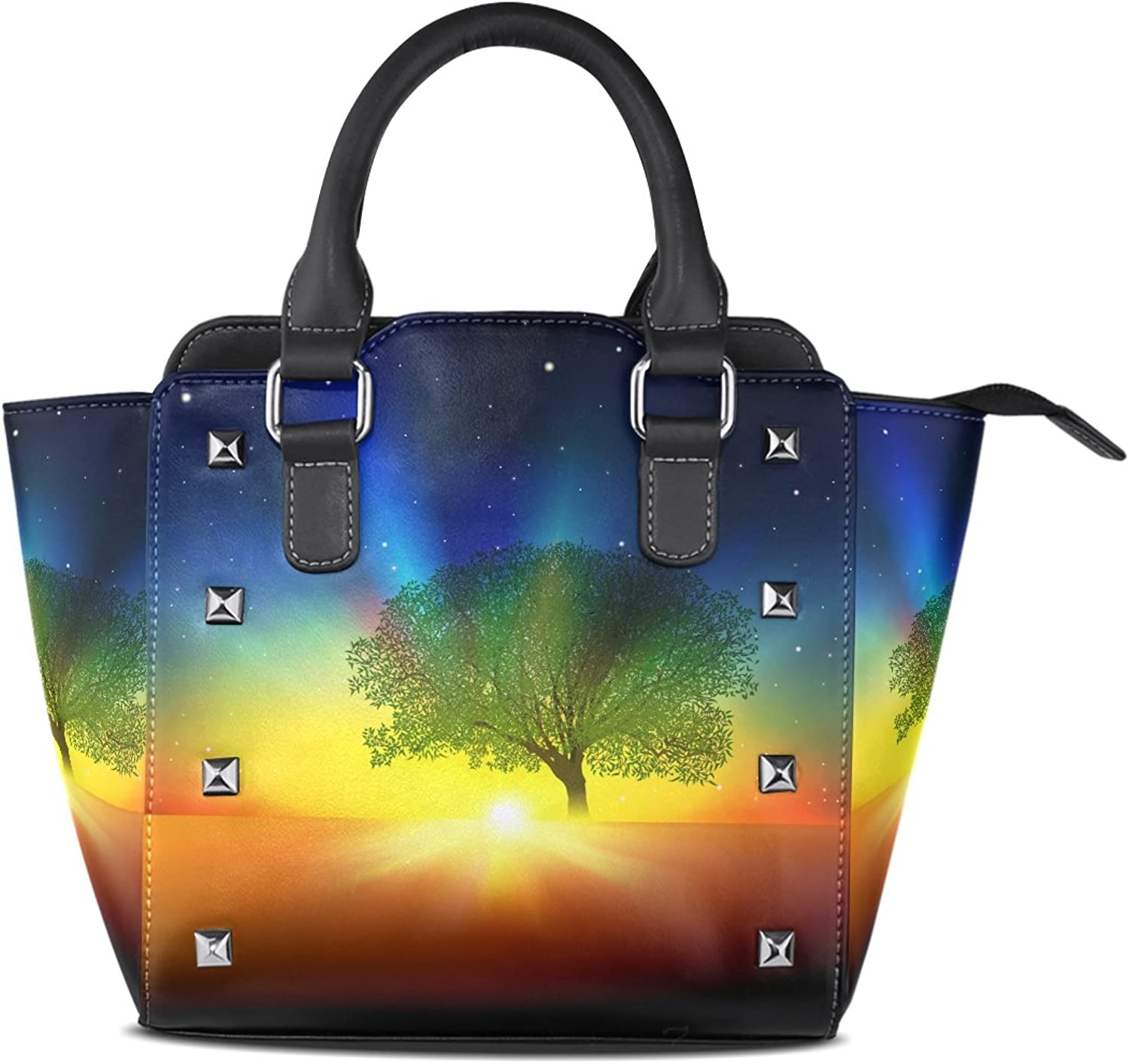 Sunlome Abstract Tree Sunrise and Stars Print Handbags Women's PU Leather Top-Handle Shoulder Bags