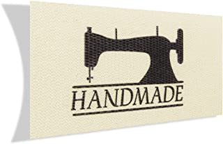 Wunderlabel Handmade with Symbol Cotton Label Crafting Craft Art Fashion Woven Ribbon Ribbons Tag Clothing Sewing Sew on Clothes Garment Fabric Material Embroidered Tags, Black on Cream, 100 Labels