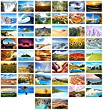 Edition Seidel Set de 100 tarjetas postales prémium con paisajes (2 x 50 tarjetas), mar natural, montañas, bosques, valles