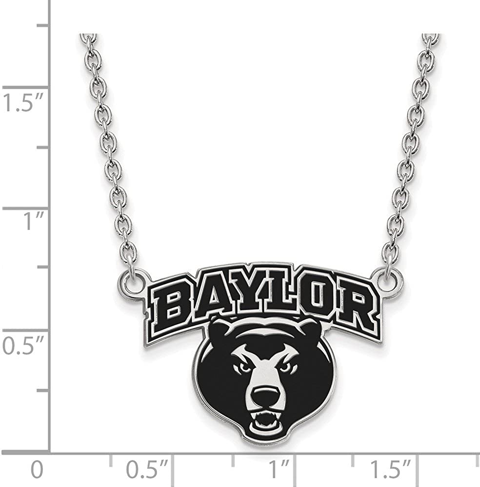 with Secure Lobster Lock Clasp Width = 24mm Solid 925 Sterling Silver Official Baylor University Large Enamel Pendant Necklace Charm Chain
