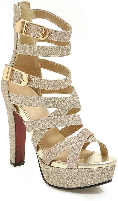 AnMengXinLing Gladiator Heeled Sandals Women Ankle Strap Platform Buckle shoes Block High Heel Open Toe Party Dress Wedding Pumps