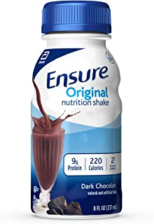 Ensure Original Nutrition Shake with 9 grams of protein, Meal Replacement Shakes, Dark Chocolate, 8 fl oz, 24 count