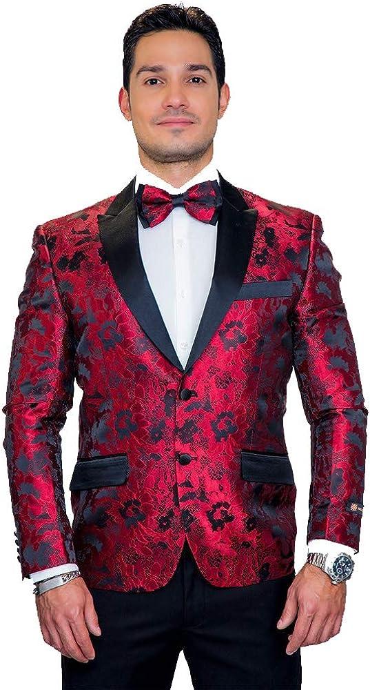 Red Floral Brocade Tuxedo Jacket