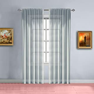 Warm Home Designs Pair of Long Length Light Silver Sheer Window Curtains. Each Voile Drape is 56 X 96 Inches in Size. Great for Kitchen, Living, Kids Room. 2 Fabric Panels Included. Color: Silver 96
