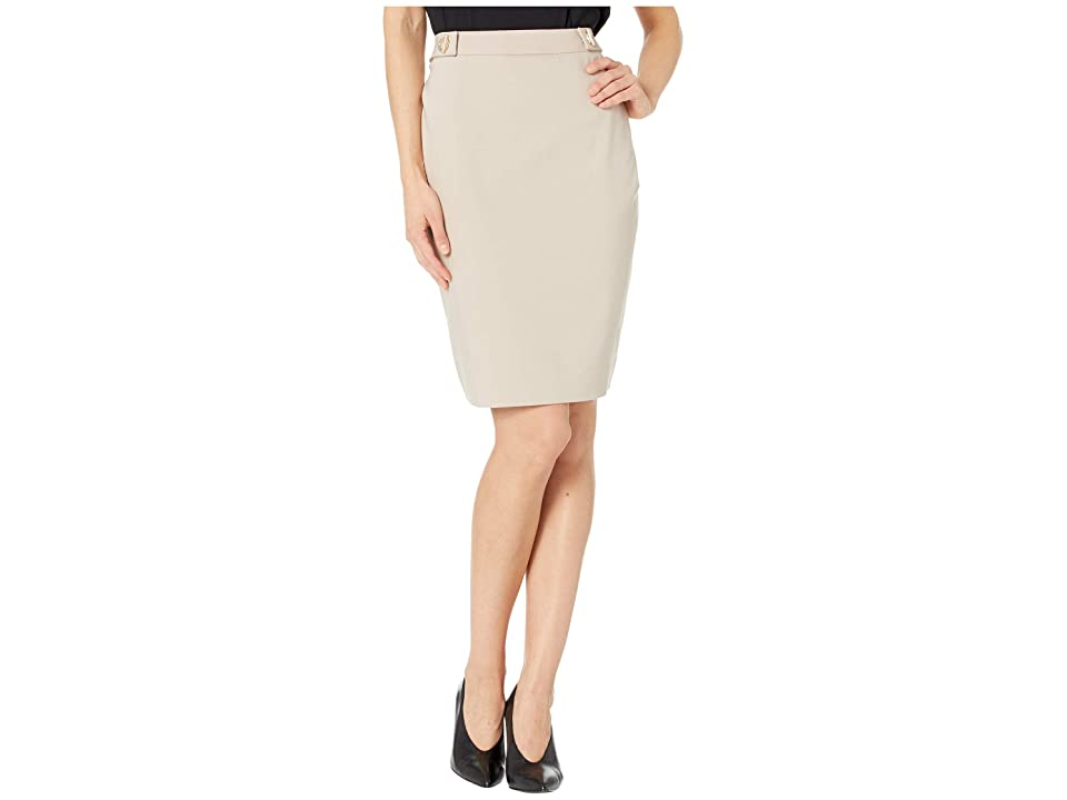 Tommy Hilfiger Side Tab Straight Skirt (Khaki) Women