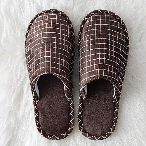 Wensistar Pluizige pantoffels van geheugenschuim, zachte katoenen vloer, geruit, winterschoenen voor mannen en vrouwen, warme voering, ultralicht en antislip.