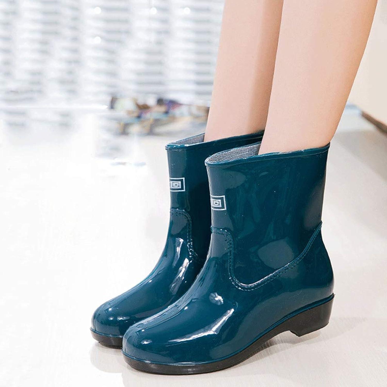 Regenstiefel- Damen-Regenstiefel für Herbst und Winter sowie Samt-Regenstiefel mit abnehmbarem Futter für Kurze Röhren für Damen (Farbe   Dunkelgrün, größe   Single Side)  | Billiger als der Preis