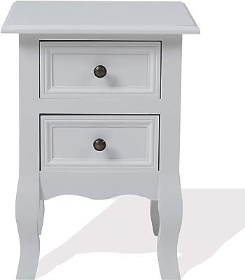 Mobili Rebecca® Table de Chevet Meuble de Rangement 2 Tiroirs Bois Blanc Shabby Chic Provencal Chambre Salon (Cod. RE4034)