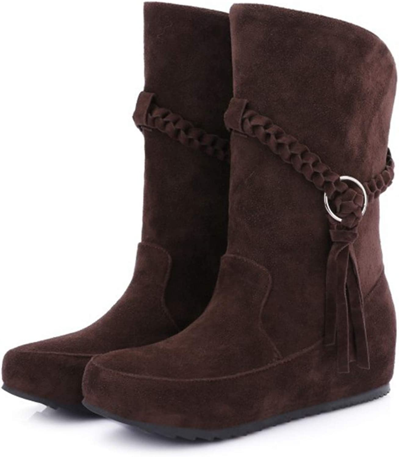 Women's Slip On Mid Calf Boots Fringe Tassel Decoration Suede Upper Slouch Calf High Flat Mid-Calf Boots