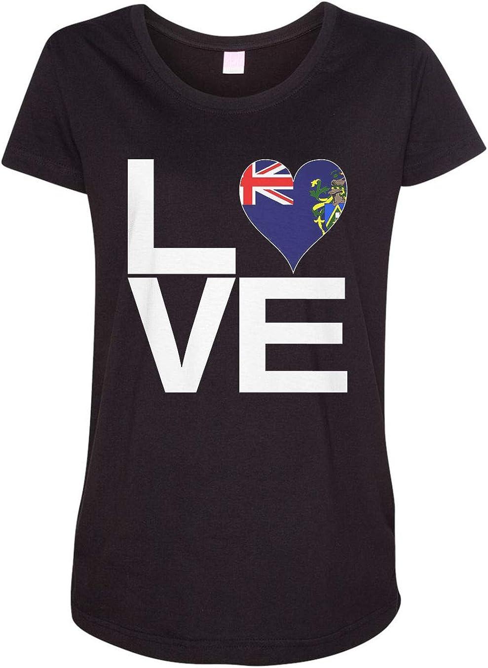 HARD EDGE DESIGN Women's Love Block Pitcairn Islands Heart T-Shirt