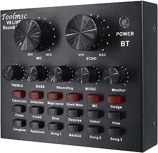 Toolmsc V8 ライブサウンドカード、Xbox PS4 Phone iPad、YouTube Facebook Tiktokに最適、 サウンドカードポータブルオーディオミキサー12サウンドエフェクト、K曲、録音、楽器とのボイスチャット