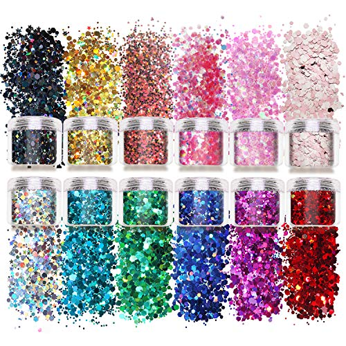Laza 12 Color Glitter Body Art Acrylic Nails Powder Mixed Polish Chunky Sequins Iridescent Flakes Ultra-thin Paillette Sparkles Set Tips 120g for Cosmetic Festival Arts Face Eyes Body Hair - Star