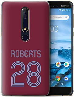 Personalized Custom Soccer Club Jersey Shirt Kit Case for Nokia 6 2018 (6.1) / Claret Blue Design/Initial/Name/Text DIY Cover