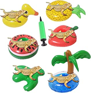 YELL 6 Pcs Bearded Dragon Lizard Bathe Float Bathtub Toy ,Bathtub Shower Games Toys(Including an Inflator)