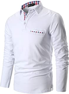 Polo Shirts for Men Long Sleeve Casual Fit Plaid Collar T-Shirts