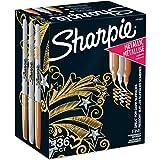 Sharpie Metallic Permanent Markers, Fine Point, Assorted Metallic, 36 Count