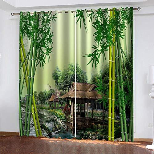 LWXBJX Opacas Cortinas Dormitorio - Pabellón Bosque de bambú Verde - Impresión 3D Aislantes de Frío y Calor 90% Opacas Cortinas - 140 x 160 cm - Salon Cocina Habitacion Niño Moderna Decorativa