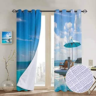 hengshu Seaside Wear-Resistant Color Curtain Beach Chair with Umbrella on Private Pool Ocean View Vacation Picture 2 Panel Sets W84 x L84 Inch Blue Aqua and White