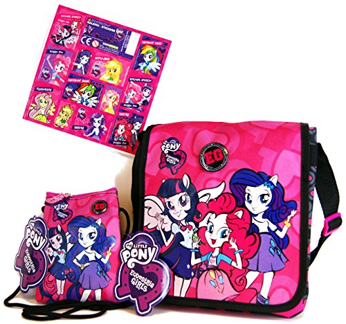 My little Pony 3 TLG Equestria Girls - Super Set - Tasche/Umhängetasche (20 x 20 x 5 cm) + Kinder Geldbeutel/Brustbeutel/Geldbörse (14 x 12 cm) + 12 Equestria Girls Sticker