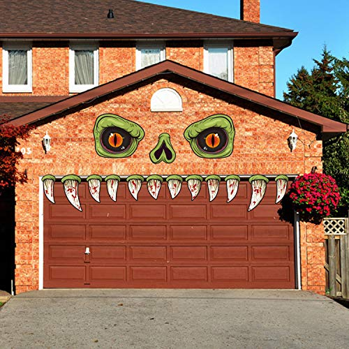 CCINEE Halloween Monster Face Outdoor Decoration with Eyes Fangs Nostril Garage Door Archway Entryway Car Decorations for Halloween Outdoor Decoration Props Supplies