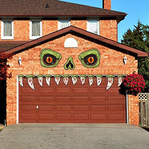 CCINEE Halloween Monster Face Outdoor Decoration with Eyes Fangs Nostril Garage Door Archway Entryway Car Decorations for Halloween Outdoor Decoration Props Supplies