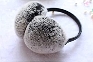 women Russia Winter 100% natural rex rabbit fur earmuff Men Warm Fashion real Fur Earmuffs kids fur ear cover Girl's Earlap,black white tip