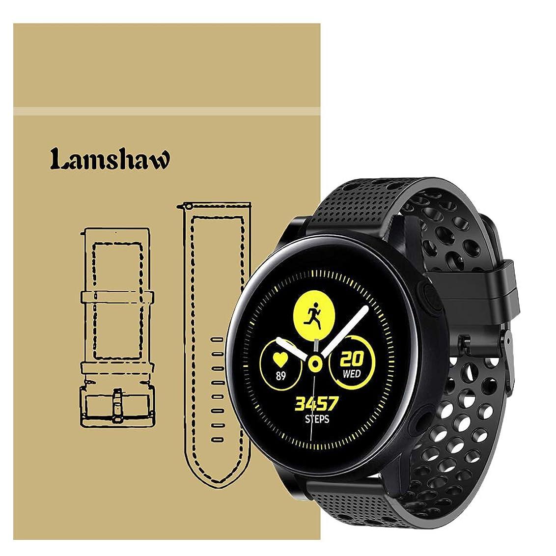超高層ビル悲鳴体操選手Lamshaw Galaxy Watch Active バンド, スポーツ シリコン 交換バンド ベルト 対応 Samsung Galaxy Watch Active (40mm) 腕時計 スマートウォッチ (ブラック)