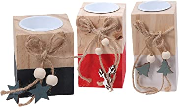 Mobestech 3pcs Wooden Christmas Candle Holder Exquisite Decorative Desktop Tealight Holder for Xmas Party Office Ornament