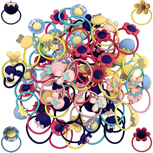 """100PCS Elastic Hair Ties Cute Hair Bands for Girls, Soft Non Pull Rubber Bands Ponytail Holders All Hairstyles Hair Ties for Toddler Girls, Teens, Kids (1.6"""" in Diameter)"""