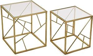 VERSA–Set di 2tavolini tavolino Metallo Dorato Alexandra