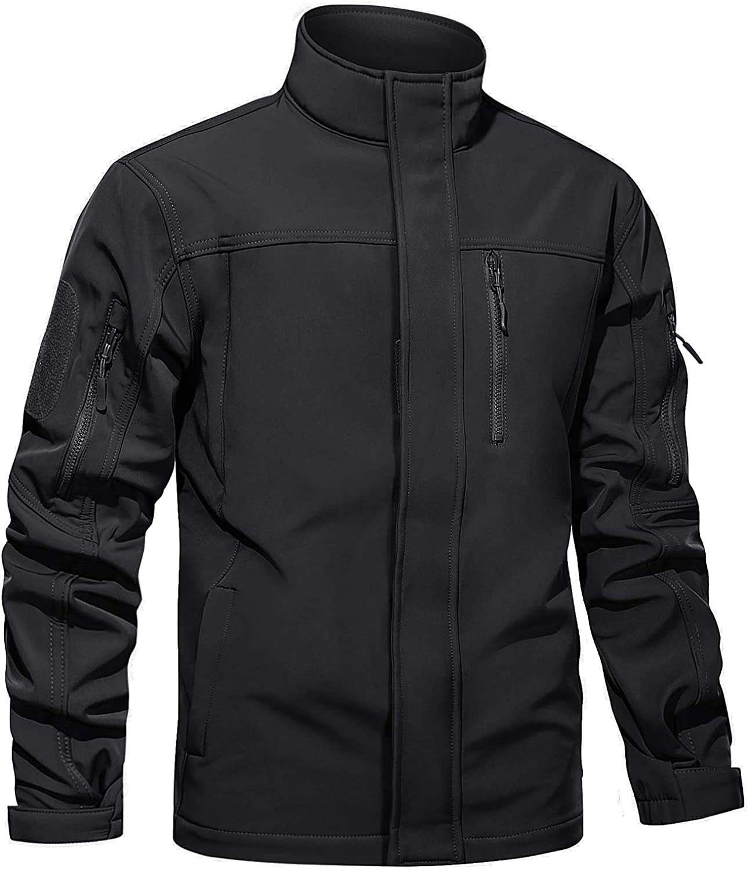 TACVASEN Men's Tactical Jackets Water Resistant Softshell Jacket Fleece Lined Hiking Training Coat