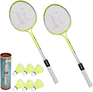 SUNLEY Phantom Set of 2 Piece Badminton Racket with 6 Piece Nylon Shuttle