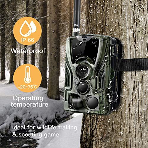 SDGDFXCHN 3G-Jagdkamera,Wildkamera Fotofalle 16MP mit Bewegungsmelder Nachtsicht 1080P Full HD Beutekameras mit Infrarot Leichtes Glühen IP66 Wasserdicht Wildtierkamera für Jagd und Tierbeobachtung