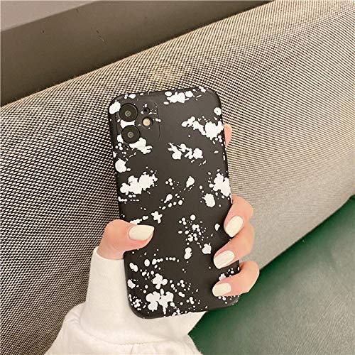 LIUYAWEI Ink Dots Soft IMD Funda para teléfono para iPhone 12 Pro MAX 11 Pro MAX XS MAX X XR 7 8 Plus SE 2020 Funda Protectora para cámara, Negro, paraiPhone X