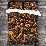 BEITUOLA Juego de Funda nórdica,Flujo Lava Vibrante Textura Imagen Combustión Magma Fundido Peligroso,1 Funda de Edredón y 2 Fundas de Almohada 200 x 200cm