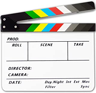Acrylic Plastic Clapboard Dry Erase Director TV Film Movie Slate Cut Action Scene Clapper Board Slate 12