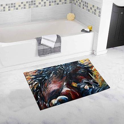 Cool Fighting Horses Oil Painting Non Slip Bath Rug Mat Absorbent Bathroom Floor Mat Doormat House Decor