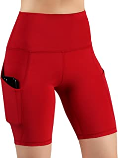 Pau1Hami1ton Women's High Waist Workout Shorts Stretch Yoga Running Shorts Pants Tummy Control with Side Pockets GP-00