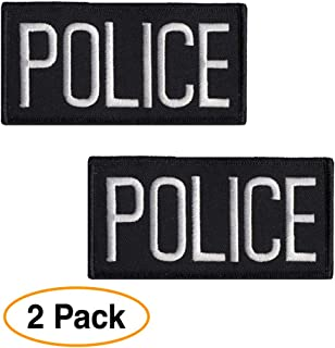 Police Officer Patch Chest or Shoulder (2 Pack) 4 x 2 inches Embroidered White on Black