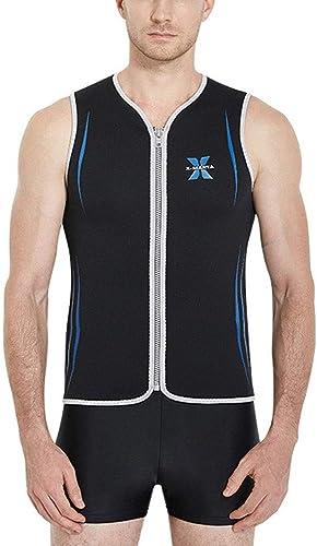 Combinaison Homme Full 3mm Combinaison en néoprène pour hommes 3mm courtey Wetsuits Top avec poitrine Zip pratique pour mettre et enlever Combinaison Thermique de Plongée ( Couleur   noir , Taille   M )
