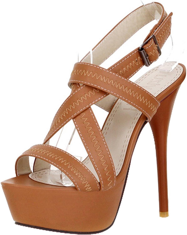 AIWEIYi Women's Cross Tied Open Toe High Heels Platform Gladiator Sandals Beige