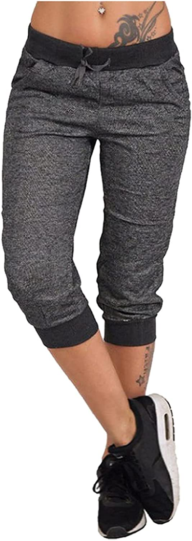 LEIYAN Womens Bermuda Shorts Casual Drawstring Plus Size Active Workout Joggers Comfy Capri Yoga Cropped Shorts