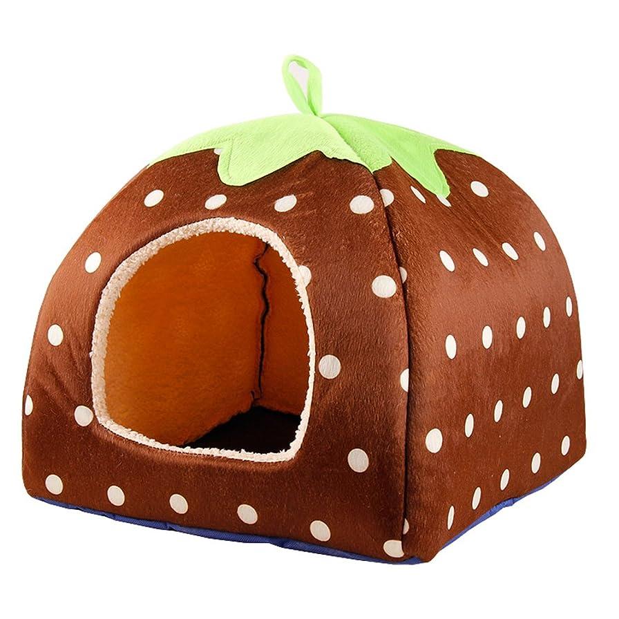 金銭的な収まる審判[スゴフィ]SGFY ペットベッド ペット用品 ドーム型 ニャンとも 水洗いできる ペットハウス 犬猫の巣 いちごの形 (S, 07)