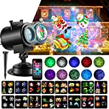LED Christmas Projector Lights, 2-in-1 Ocean Wave Projector Light with 16 Slides Patterns 10 Colors...