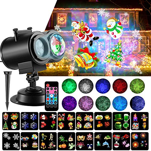 SOMKTN Christmas Projector Lights, 2-in-1 Ocean Wave Projector Light with 16 Slides Patterns 10 Colors Waterproof Indoor for Halloween Xmas Decor