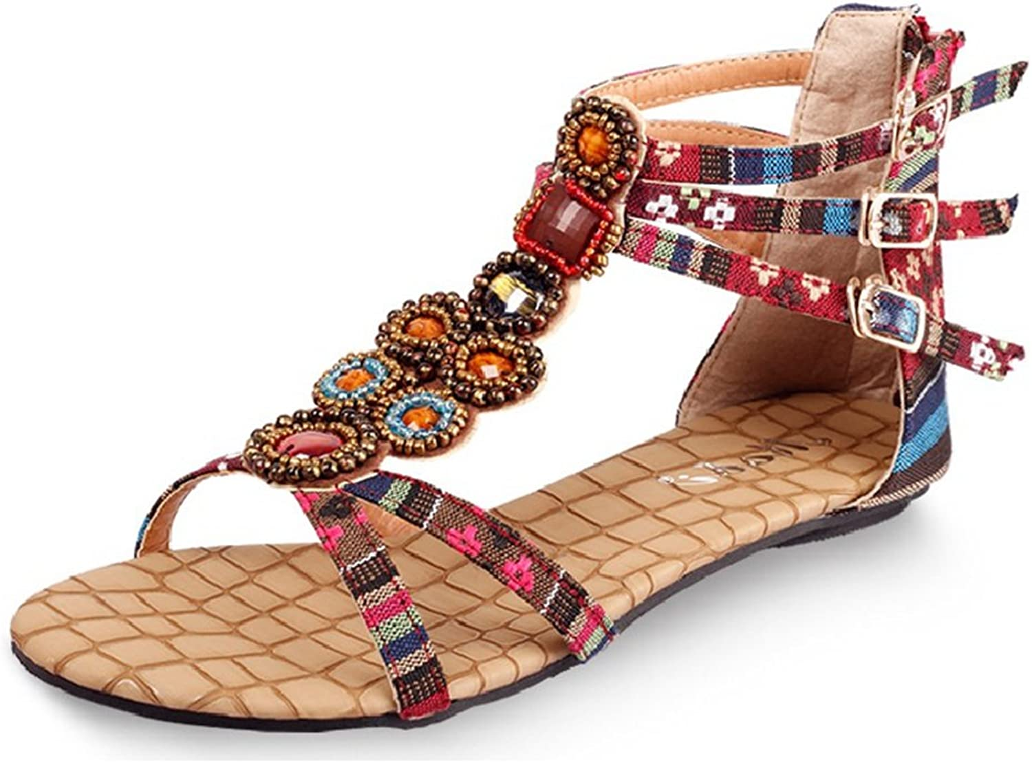 CYBLING Fashion Open Toe Bohemian Sandals for Women Flat Beach Strap shoes
